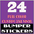 24 Custom Bumper Stickers 3x8 Full Color