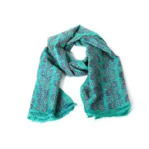 Green with Blue Floral Pattern Kantha Silk Scarf (Red and