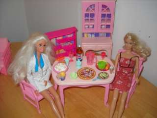 Barbie Table & Chairs Kitchen Cabinet Food Lot