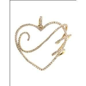 14k Yellow Gold, Fancy Open Heart Pendant Charm Lab Created Gems 47mm