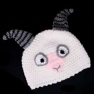 White Ram Beanie Knit Cap Hat for Kids