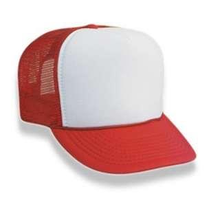 Retro Foam & Mesh Trucker Baseball Hat, Red/ White
