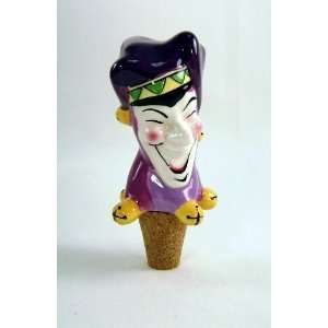 Mardi Gras Jester Ceramic Wine Bottle Stopper, 4 inches
