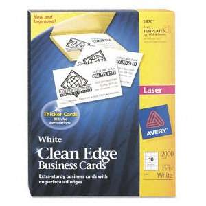 Avery® Clean Edge Laser Business Cards, White, 2 x 3 1/2