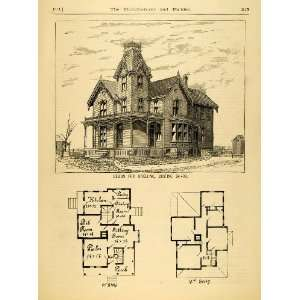 Print Dwelling Architectural Design Floor Plans Victorian Architecture