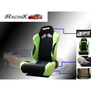 Black with Green Universal Racing Seats   Pair Automotive