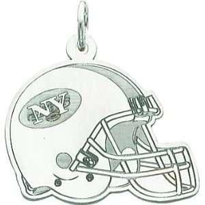 White Gold NFL New York Jets Football Helmet Charm