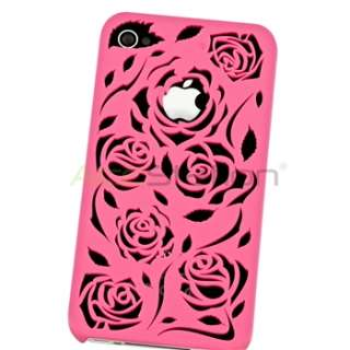 Hot Pink lovely Carving Flower Rose Rear Hard Cover case for iphone 4