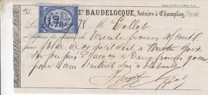 OLD FRENCH LEGAL DOCUMENT   1878 TAX STAMP