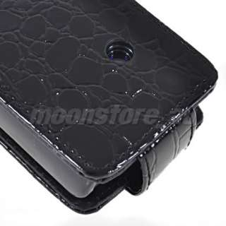 CROCODILE FLIP LEATHER POUCH CASE COVER FOR SONY ERICSSON XPERIA X8