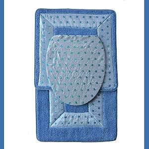 BLUE 3 Piece Bathroom RugMat SETBath Mat,Contour Rug,Toilet Seat Lid