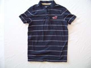 mens HOLLISTER blue/white   striped POLO SHIRT henley HCO seagull MEN