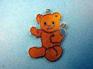 Vintage sterling silver BABY TEDDY BEAR & RIBBON TOY ENAMEL charm VERY