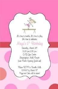 Gymnastic Girl Zebra Birthday Party invitation tumble