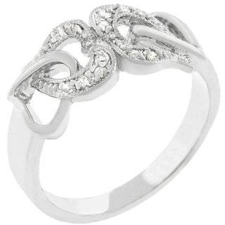 Sterling Silver Heart Promise Ring With Small Cubic Zirconias Jewelry