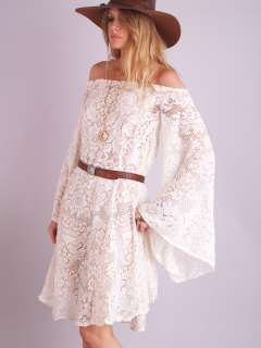 CROCHET Sheer Cutout Floral ANGEL SLV Hippie Wedding Mini DRESS