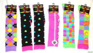 Lot Of 12 Womens Neon Knee High Socks Assorted Styles NEW