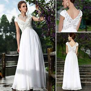 Party Bridemaid Ball White V neck Long Evening Beading Dress