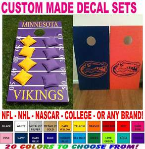 CUSTOM MADE CORNHOLE BOARD VINYL DECAL SETS BEAN BAG