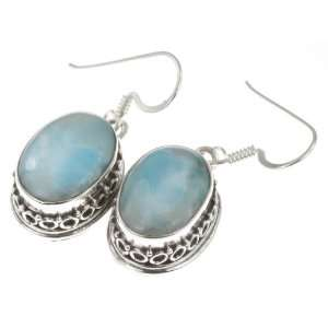 925 Sterling Silver NATURAL LARIMAR Earrings, 1.25, 8.12g Jewelry