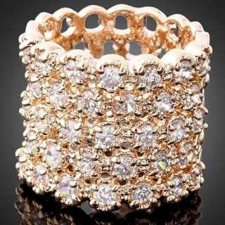 ARINNA Swarovski Crystal Band Rose GP Cocktail Rings