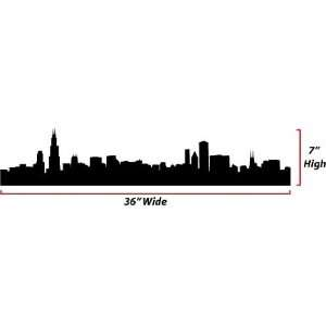 Chicago Skyline Silhouette  Medium  Vinyl Wall Decal Everything Else