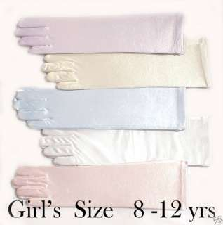 NEW Girls Long Satin Wedding/Pageant Elbow Gloves 8 12