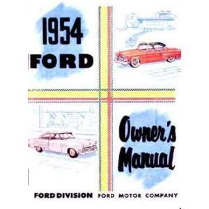 1954 FORD PASSENGER CAR Owners Manual User Guide