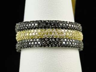 STACKABLE RED WHITE YELLOW BLACK DIAMOND FASHION WEDDING BAND RING