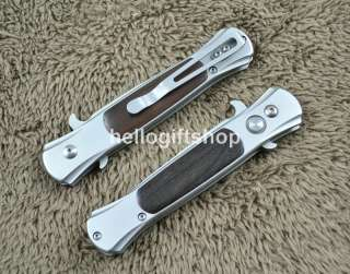 Blade Wood Inlay Handle Pocket EDC Folding Knife Camping Tool