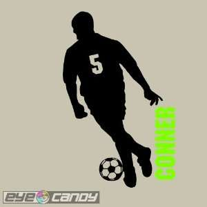 Soccer Boy with Custom Name and Number Wall Graphic Sticker Decal