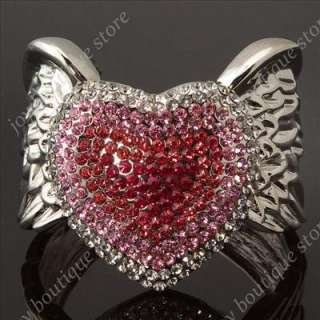 Heart Swarovski crystal rhinestone Angel Wing fashion jewelry cuff