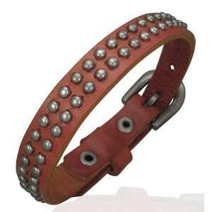 Brown Leather Stud Belt Buckle Bracelet Mission Jewellery Jewelry