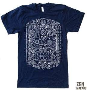 Mens SUGAR SKULL american apparel t shirt tee S M L 2XL