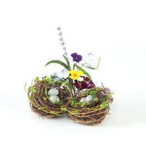 Club Pack of 12 Pansy & Lavender Joined Bird Nests with
