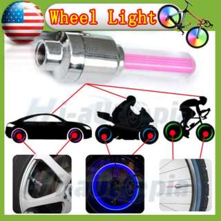 New Car Bike Motorcycle Alarm Tyre Tire Wheel Led Light Lamp Pink