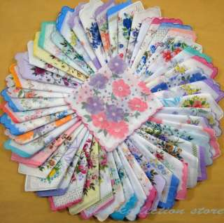 pretty 50 vintage style floral women hanky ladies large lot cotton