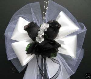 BLACK/ WHITE/ SILVER satin wedding pew bows decorations