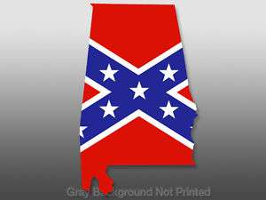 Alabama Shaped Rebel Flag Sticker  decal confederate al