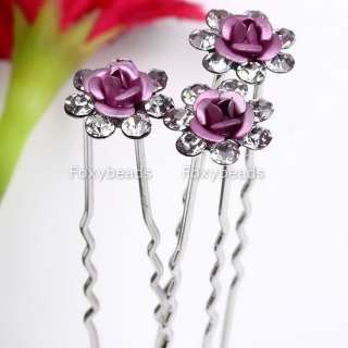 10PC WEDDING BRIDAL PINK ROSE CRYSTAL *HAIR PINS* GEMS