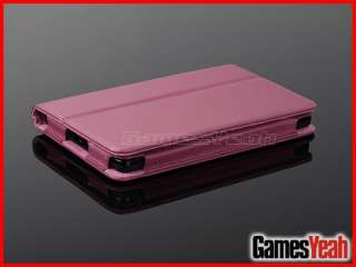 Pink F Kindle Fire PU leather Case Cover/Car Charger/USB Cable/Stylus