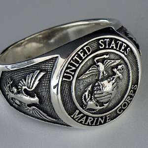 UNITED STATES ARMY   MARINE CORPS USMC SILVER 925 RING