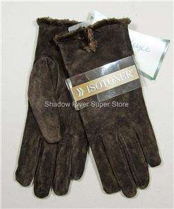 New Womens ISOTONER Lined BROWN SUEDE Leather Gloves