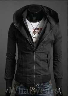 Mens Double Zip Design Slim Coat Jacket Tops Black Z16