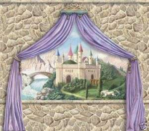 PRINCESS CASTLE CANOPY and STONE WALL Wallpaper Mural