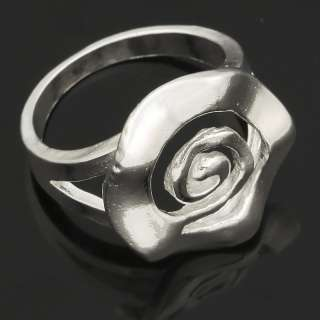 Free Ship Silver Plated Flower Finger Ring SZ 9 Fashion