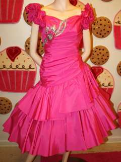 VINTAGE 80S PARTY PROM DRESS HOT PINK TOTALLY OUTRAGEOUS STYLE