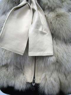QUALITY FOX Fur Leather VEST top GILET Pelliccia Black Beige M
