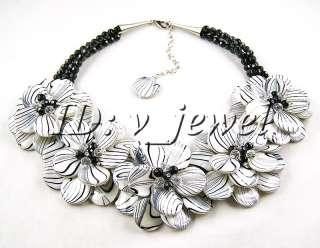 Shell onyx crystal flower necklace/earring set VJ