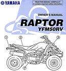 2006 YAMAHA RAPTOR 50 ATV OWNERS MANUAL  RAPTOR 50  YFM50RV YAMAHA